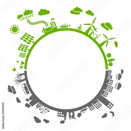 eco vs. pollution - A format - sustainable concept