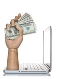 Manikin hand holding money on a computer laptop poster