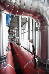 Pipes connecting tanks in factory