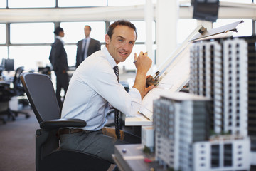Architect working at desk in office