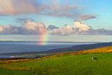 Irish landscape with rainbow over the ocean