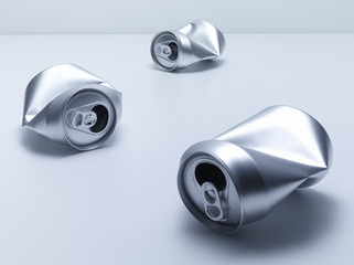 Crumpled soda cans