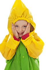 little girl with raincoat isolated
