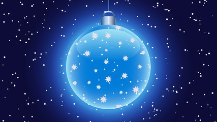 Shining blue christmas ball on dark background