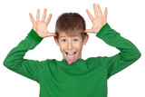 Funny child with green t-shirt mocking poster