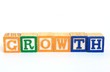 The word growth in alphabet blocks