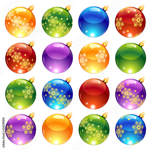 Collection of bright Christmas decorations