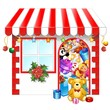 Natale Acquisti Negozio-Christmas Shopping Shop-Vector