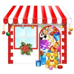 Natale Acquisti Negozio-Christmas Shopping Shop-Vector