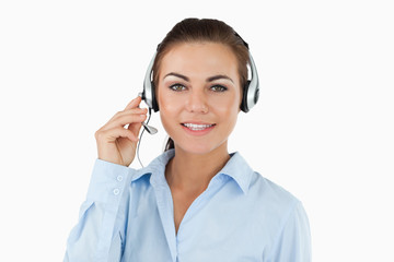 Call center agent talking to costumer