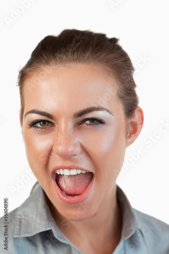 Close up of screaming businesswoman
