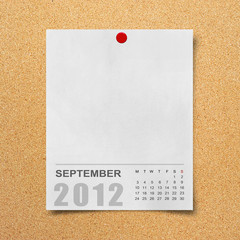 Calendar 2012 on blank Note Paper Background