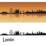 Fototapety London skyline in orange background in editable vector file