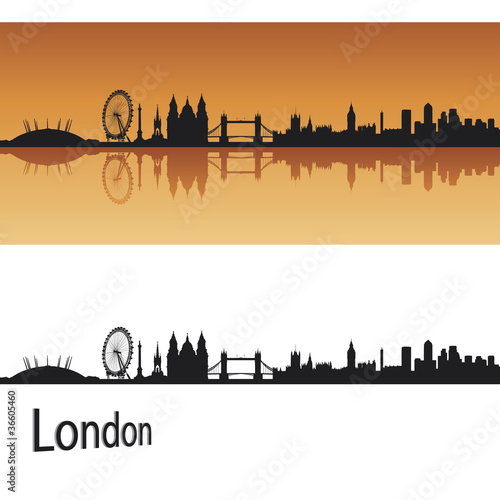 London skyline in orange background in editable vector file