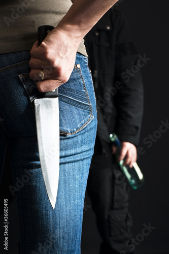 Woman with a knife.