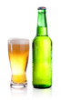 Isolated Glass and Green bottle of beer on a white background