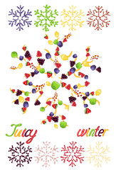 Juicy snowflakes on white background