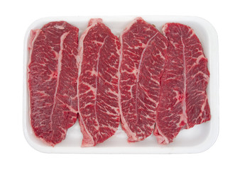 Boneless top blade steak on tray