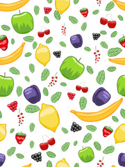 Mouth-watering fruit seamless pattern