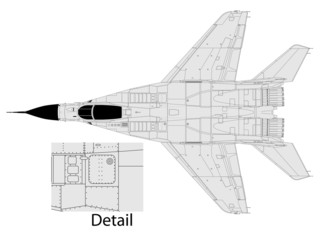 High detailed vector illustration of a modern military airplane