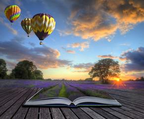 Hot air balloons lavender landscape magic book pages