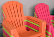 Colorfully Stacked Beach Chairs