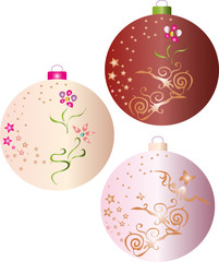 three christmas balls decorated