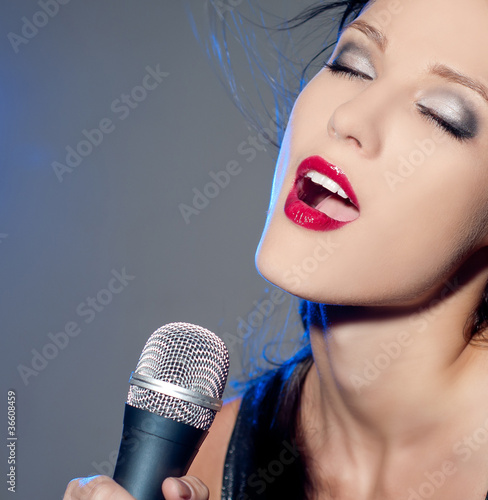 Woman with a microphone