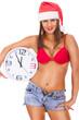 santa  girl in underwear holding clock