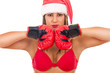 santa girl with hat and boxing gloves