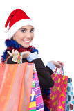 santa girl with shopping bags