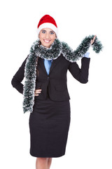 businesswoman with santa hat