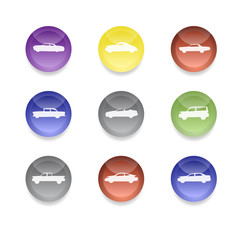 Colorful car icons