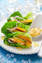 Chicken salad on lettuce leaves