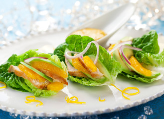 Chicken salad on lettuce leaves