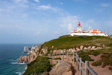 lighthouse and ocean at cabo da Roca, Portugal