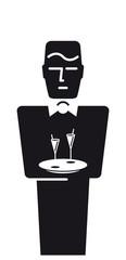 Reservierter Butler mit Cocktails