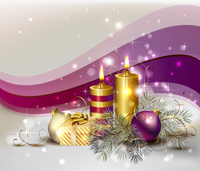 light Christmas background with burning candles