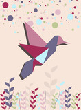Single Origami hummingbird in pink
