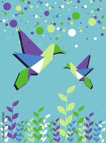 Foto op Canvas Geometrische dieren Origami hummingbird couple spring time