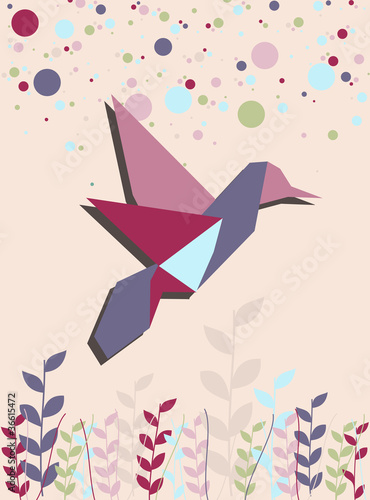 Foto op Canvas Geometrische dieren Single Origami hummingbird in pink