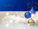 glimmered Christmas background with three evening balls poster