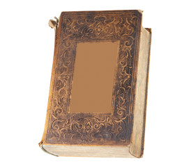 Antique book with blank cover, isolated
