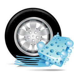 car tire with blue sponge and water trace