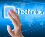 hand pushing technology button