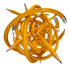 Yellow pencil caught in a tangle, 3d render