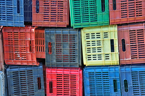 colorful plastic crates background