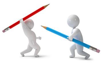 Two men fighting with pencils, 3d render