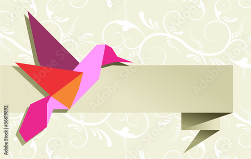Staande foto Geometrische dieren Single Origami hummingbird over floral background