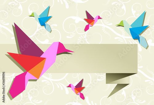 Foto op Canvas Geometrische dieren Origami hummingbird group with banner